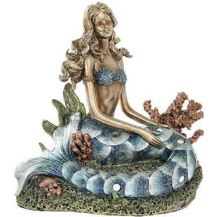 Blue Tail Mermaid on a Rock Figurine